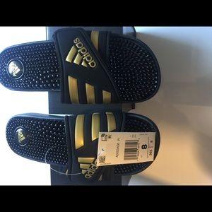 Adidas Adissage Black And Gold Slides